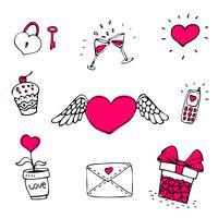 Liefde pictogrammen instellen vector