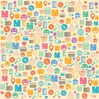 Elektronische handel online het winkelen naadloos patroon als achtergrond vector