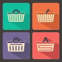 Set van winkelwagentjes en manden pictogrammen