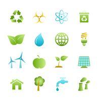 Groene eco pictogrammen instellen vector