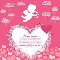 Valentijnsdag engel met boog flyer vector