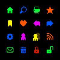 Gekleurde pixelpictogrammen die voor website worden geplaatst