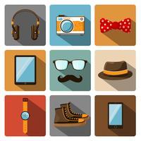 Hipster accessoires pictogrammen instellen vector