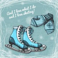 Skate en gebreide wollen wanten poster