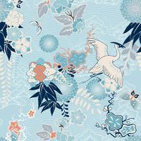 Kimono achtergrond met kraan en bloemen vector