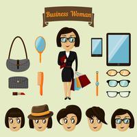 Hipster karakter pack voor zakelijke vrouw vector