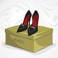 Klassieke vrouw lederen zwarte schoenen vector