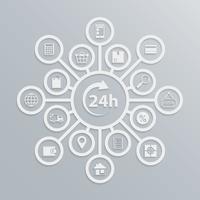 Online winkel 24 uur klantenservice diagram vector