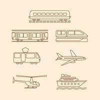 Vervoerspictogrammen van tram, metro, trein, vliegtuig, helikopter, schip