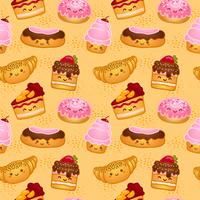 Naadloze zoete gebakken gebakjes vector