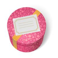 De roze verfraaide doos van verjaardagsgeschenken met geel lint