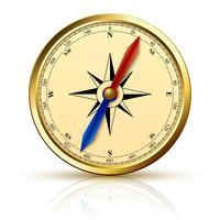 Navigatie kompas gouden embleem vector