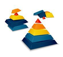 Piramide gemonteerd en gedemonteerd