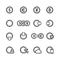 Contant geld pictogrammen instellen, contour plat vector