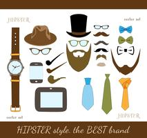 Hipster accessoire pictogrammen instellen
