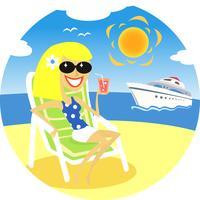 meisje op het strand vector