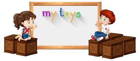 Grensmalplaatje met jongen en meisje op doos