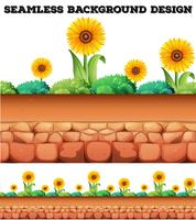 Naadloze achtergrond met zonnebloemen