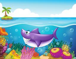 Een lachende haai onder de zee met koralen