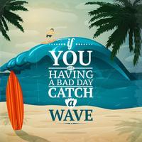 Vang een wave surfboard-poster vector