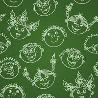 Naadloze doodle lachende kinderen gezichten op schoolbord