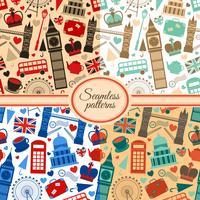 Verzameling van naadloze patronen met Londen