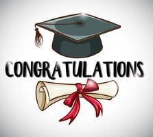 Gefeliciteerd kaartsjabloon met pet en diploma vector