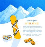Snowboard winter uitnodiging vector