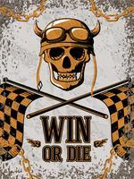 Retro poster met motorfiets ontwerpelementen vector