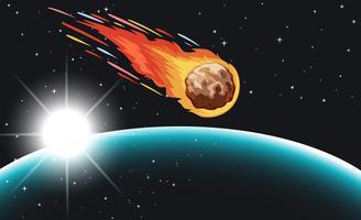 Komeet vliegt in de ruimte vector