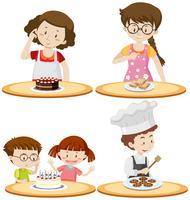 Mensen en verschillend voedsel op tafels vector