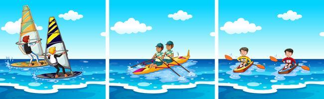 Mensen die op zee watersporten beoefenen