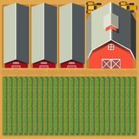 Luchtfoto van landbouwgrond en gewassen vector
