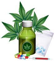 Marihuanabladeren en verschillende producten vector