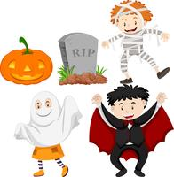 Kinderen in kostuums van Halloween vector