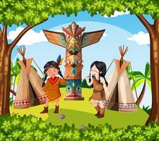Indiaanse indianen bij de stam