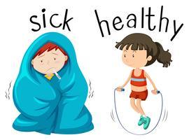 Tegenover woordkaart voor woord ziek en gezond vector
