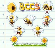 Bijen en bloementuin op lijndocument