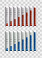 Blauwe en rode vloeistoffen in thermometers