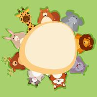 Grensmalplaatje met leuke dieren op groene achtergrond vector