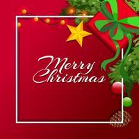Kerstkaartsjabloon met rode achtergrond vector
