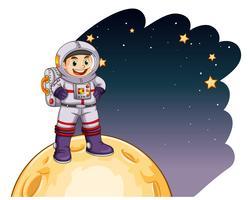 Astronaut die zich op de maan bevindt