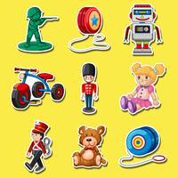 Sticker met speelgoed op gele achtergrond wordt geplaatst die vector