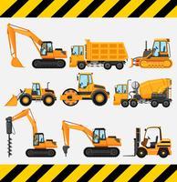 Verschillende soorten bouwvrachtwagens vector