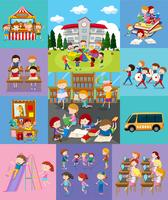 Kinderen doen verschillende activiteiten op school vector