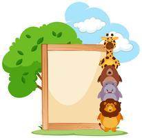 Houten frame met schattige dieren aan de zijkant