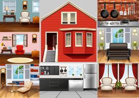 Verschillende kamers in het huis vector