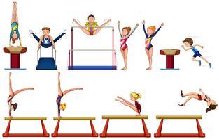 Verschillende soorten gymnastiek met apparatuur vector