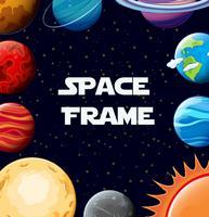 Grensmalplaatje met planeten in melkweg vector