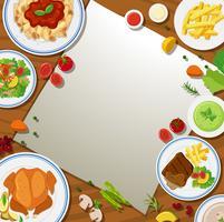 Grensmalplaatje met verschillend voedsel in de platen